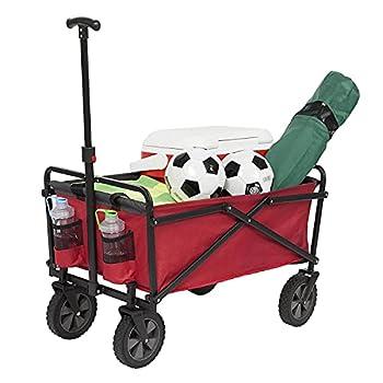 Seina 150 Pound Capacity Portable Folding Steel Wagon Outdoor Garden Cart Red