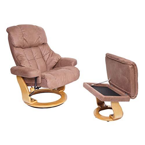 Mendler MCA Relaxsessel Calgary XXL, TV-Sessel Hocker, 180kg belastbar Stoff/Textil ~ braun, Gestell naturbraun