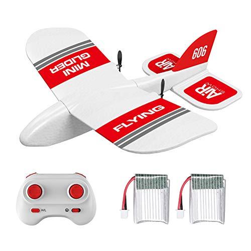 Goolsky KF606 Avión RC 2.4G Volando Aviones para Principiantes EPP Foam Glider Avión de ala Fija RTF Foam Plane Control Remoto Gliding Aircraft Modelo Juguetes Regalos para Niños (2 Batería)