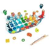 Juguete de espuma de descompresión sensorial, agua dulce 4 en 1 Juego de pesca magnético para niños pequeños Forma de anillos de apilamiento de madera, Clasificación de forma de número para niños Tabl