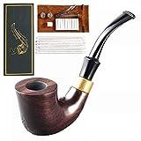Pipa de fumar tabaco de pipa de madera fumar filtro tallado a mano curvado retro 9MM filtro Caballero tamaño práctico moda salud padres regalo Unisex (grano de madera)