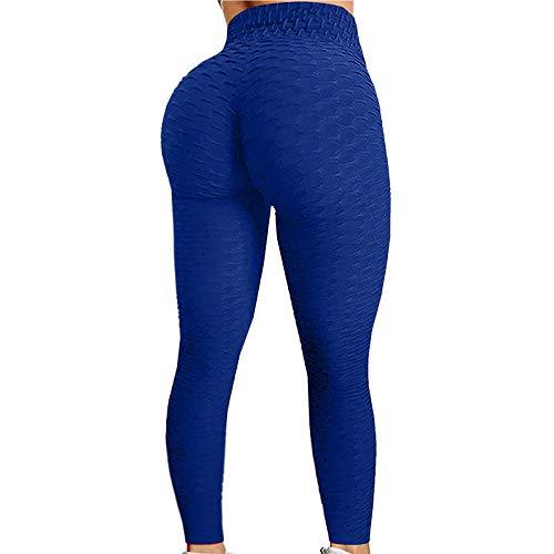 Yoga para Mujer Pantalones Leggings Push Up Mujer Mallas Pantalones Deportivos Alta Cintura Elásticos Yoga Fitness Running Pantalones Delgado Entrenamiento Transpirable (Azul, M)