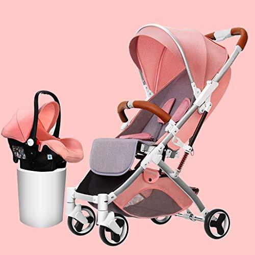 QJY kinderwagen, 2-in-1-wagen, grote opbergruimte, wielvering, 5-punts gordel opvouwbare kinderwagen luxe kinderwagen roze