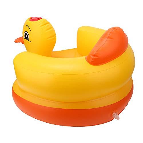 AMONIDA Aufblasbarer Babystuhl, langlebiger, sicherer, ungiftiger Baby-Badehocker mit gelber Ente, 60 kg Tragfähigkeit für den Innen- und Außenbereich(Oval Bottom Yellow)