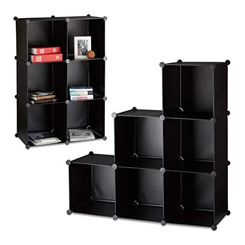 2X Regalsystem, 6 Fächer, Stufenregal, Standregal, Raumteiler, Bücherregal, Treppenregal, HBT 110 x 110 x 35 cm, schwarz
