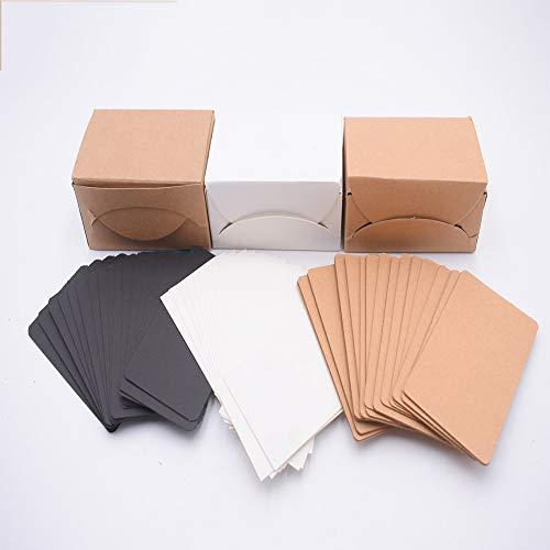 300 Stücke Blanko Wort Karten, Postkarten Blanko 8,8cm x 5cm, Kraftpapier Karten für DIY, Graffiti, Nachricht, Party und BüroSchule Supply(weiß, braun, schwarz)