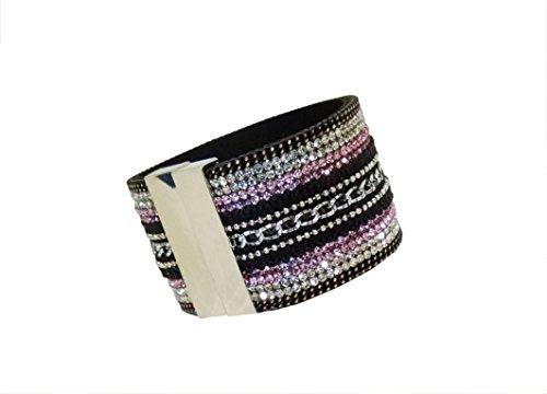 Magnetarmband / Straßarmband Armreif mit Magnetverschluß, 18,5 cm, schwarz-rosa