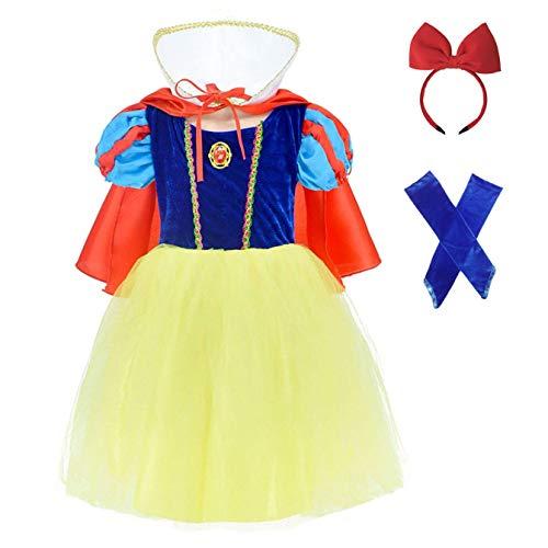FONLAM Vestido Largo Disfraz de Princesa para Niña Conjunto Vestido Fiesta Cumpleaños + Capa + Manguitos + Diadema Niña Carnaval (3-4 Años, Amarillo y Azul)