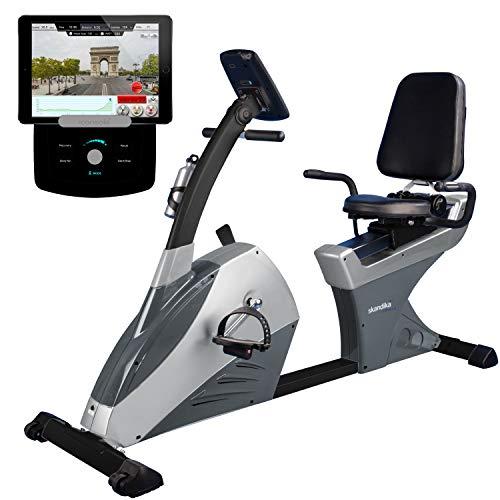 skandika Centaurus Liege-Ergometer, 12 vorinstallierte Trainingsprogramme & Kinomap Bluetooth Smartphone/Tablet App-Steuerung mit Google Street View (schwarz/grau (Bluetooth, iConsole))