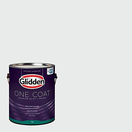 Glidden Exterior Paint + Primer: White/White, One Coat, Flat, 1 Gallon