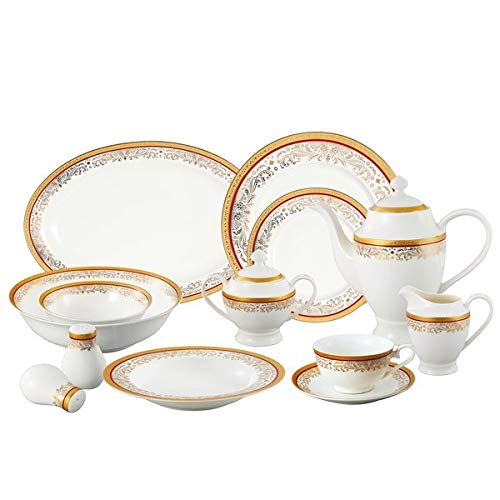 Lorren Home Trends La Luna Collection Bone China 57-Piece Red and 24K Gold Design Dinnerware Set, Service for 8