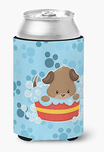 Caroline's Treasures BB7077CC Puppy taking a bath Can or Bottle Hugger, Can Hugger, multicolor