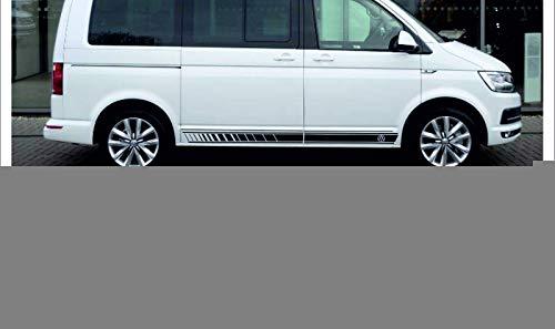 SUPERSTICKI Transporter T4 T5 T6 Multivan Seitenstreifen Racing Stripes beidseitig Aufkleber Autoaufkleber Tuningaufkleber Hochleistungsfolie für alle glatten Flächen UV und Waschanlagenf