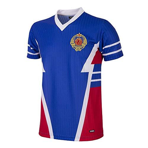 Copa Camiseta de fútbol Retro de Yugoslavia 1990 para Hombre, Hombre, Camiseta Retro de fútbol con Cuello en V, 234, Azul, L