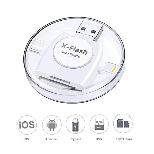Sonoka Lector Tarjetas de Memoria SD/Micro SD 4 en 1 Adaptador Tarjetas USB 3.0/ Lightning/Micro USB/Tipo C Conector, Lector de Tarjetas para Apple iPhone, iPad, MacBook y Phone Andriod