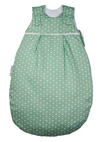 Babyschlafsack von Picosleep unisex I grün mit weißen Herzchen I Baumwolle I ganzjährig I ohne Arm I mit Seitenreißverschluss (50/56)