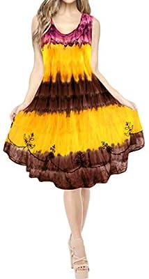 LA LEELA Women's Midi Beach Spring Swing Prom Party Dress US 4-14W Maroon_T220