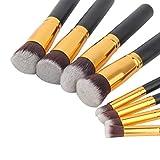 8pcs pinceles de ojos profesionales set sombra de ojos Foundation Mascara Blending Pencil brush Herramienta de maquillaje Cosmética pinceis para maquiagem-Black + Golden