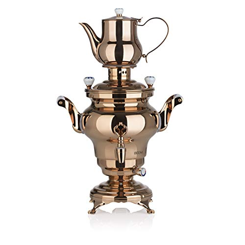 BEEM SAMOWAR Odessa III | 2 serpentine di riscaldamento e termostato a regolazione continua | Contenitore per acqua da 3 litri, teiera da 1 l con filtro | Protezione contro il surriscaldamento
