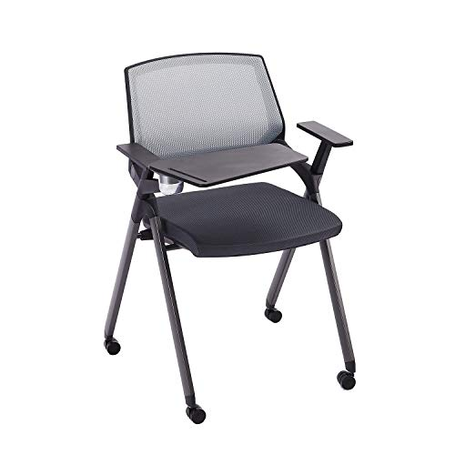 CLATINA Tablet Arm Chair with Caster Wheels Mesh Guest Nesting Stacking for Office School Classroom Training Conference Waiting Room Gray