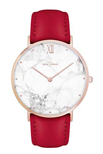 New Trend Unisex Armbanduhr Damen-Uhr Herren-Uhr, Analog Display, Quarzwerk, Mesh-Armband, Leder-Armband, Chronograph-Optik, mit Dornschließe, Marmor-Muster