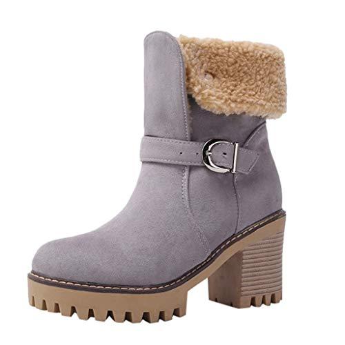 HDUFGJ Damen Stiefeletten Ankle Boots Plateau Boots gefütterte High Heels Chelsea Boots Stiefeletten Gummistiefel Wanderhalbschuhe Trekkingschuhe Mittlere Stiefel 39 EU(Grau)