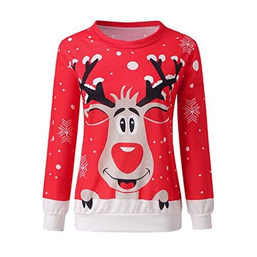 Tefamore Jerseys de Punto para Mujer Reno Rudolph Navidad Xmas Jumper Camiseta Tops Plus Size S-2XL