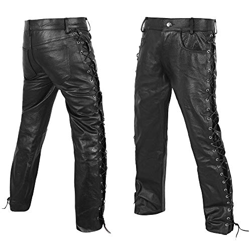 DEFY Men's Thick Cowhide Genuine Leather Full Grain Motorcycle Side Laces Leather Pants (34)