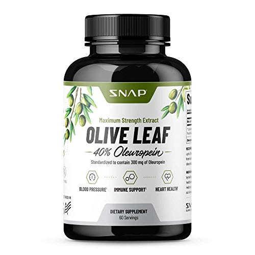 Olive Leaf Extract Capsules - Super Strength 40% Oleuropein for Blood Pressure Support, Improve Digestion, Antioxidant Boost Supplement, Improve Brain Function, Anti-Inflammatory Aid (60 Capsules)