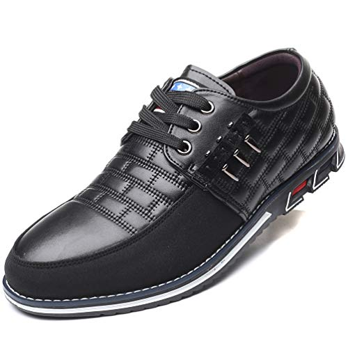 COSIDRAM Men Casual Shoes Sneakers Loafers Breathable Comfort Walking Shoes Fashion Driving Shoes Luxury PU Leather Shoes for Male Business Work Office Dress Outdoor Black 10