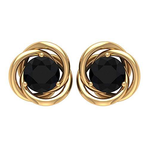 Pendiente de diamante negro certificado SGL, solitario, para mujer, clásico, chapado en oro, vintage, para novia, 18K Oro amarillo, Par