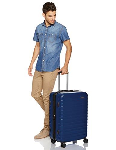 Amazon Basics Hardside Spinner, Carry-On, Expandable Suitcase Luggage with Wheels, Navy Blue - 3-Piece Set