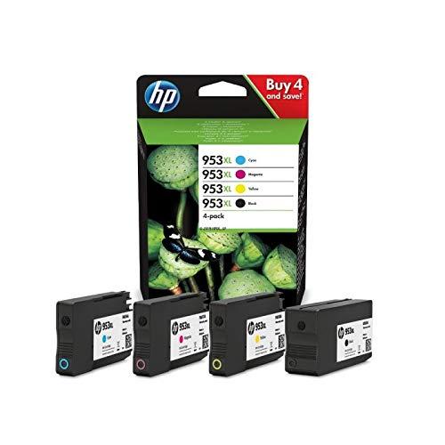 HP Tintenpatrone, 953XL, original, cyan/magenta/gelb/schwarz, 2.000/1.600 Seiten (schwarzweiß/farbig) (4 Stück), Sie erhalten 1 Packung á 4 Stück