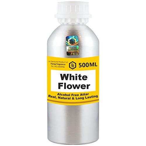 Parag Fragrances White Flower Attar 500 ml Attar (Sans alcool, Attar longue durée pour homme - Femmes et usage religieux) Worlds Best Attar | Itra | Huile parfumée | Parfum