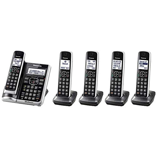 Panasonic Bluetooth Cordless Phone KX-TG885 Link2Cell with Enhanced Noise Reduction & Digital Answering Machine - 5 Handsets (Black/Silver)