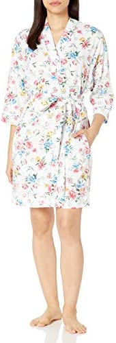 Karen Neuberger Women s Long Sleeve Knit Robe Floral Soft White Large product image
