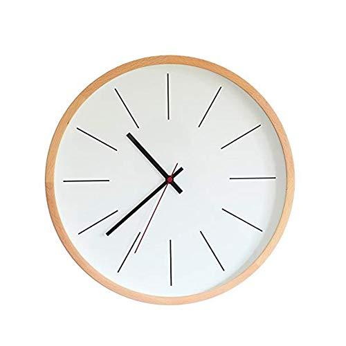 Elegante reloj de pared redondo de madera, silencioso, moderno, salón, dormitorio.