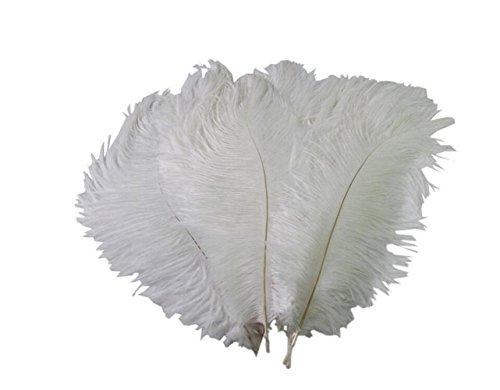 50 plumas de avestruz para decoración de fiestas de cumpleaños de 15 a 20 cm, para manualidades, decoración de bodas, festivales, costura, disfraces, color blanco