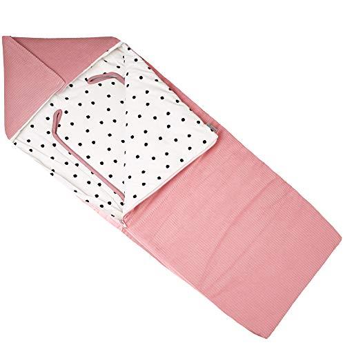 UKJE- universele voetenzak voor Maxi Cosi autostoel, kinderwagens en kinderstoelen vanaf de geboorte (Cybex autostoelen, Maxi-Cosi, kinderwagen) warm en zacht katoen Oeko-Tex Standard 100-roze stippen