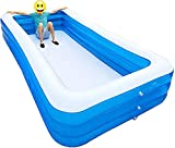 Family Inflatable Children's Swimming Pool Pool Rectangle Kids Ultra Big Size 3 Layer Family Pool Large Ground Pool Children Parents Water Play …