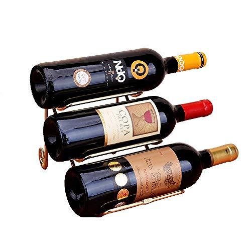 CAIJINJIN estante del vino Estante del vino Mostrar Moderno estante de la botella de vino gabinete del vino vino rack Decoración for la cocina estante del vino Portable (Color: Oro, Tamaño: 25.5x14x15