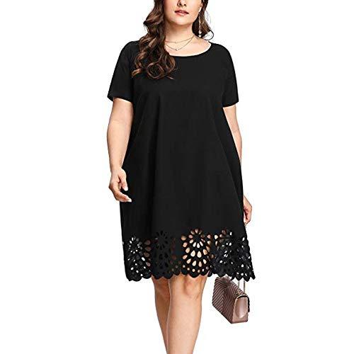Routinfly Vestido informal para mujer, vestido de verano, elegante, maxivestido retro, vestido de verano, talla grande, moda para mujeres, de manga corta, cuello redondo, vestido informal