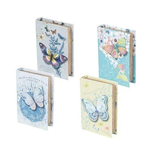 CAPRILO. Set de 4 Cajas Libro Decorativas de Madera y Tela Mariposas Cajas Multiusos. Joyeros. Regalos Originales. Decoración Hogar. 3 x 13.5 x 9.5 cm.