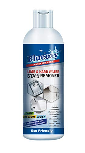 Blueoxy Super Concentrated Lime & Hard stain Remover liquid - 500 ml | Eco Friendly | Removes Hard Water Marks & Dissolves Lime Scale | Easy to Use | Stainless Steel | Shower Doors | Toilets Bowls
