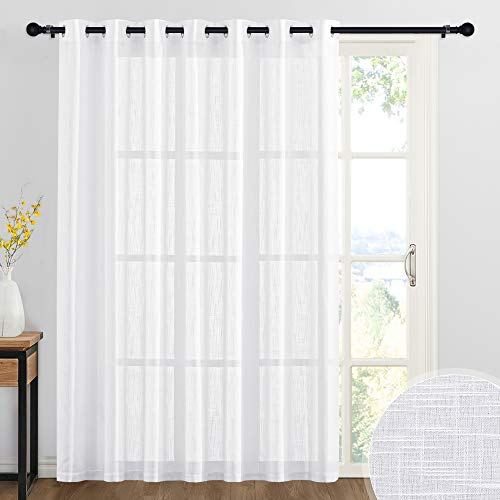 RYB HOME Sheer Curtains White - 100 inches Extra Wide Linen Semi Sheer White Backdrop Christmas Curtains for Bedroom Dining Living Room Sliding Glass Door, 100 x 84 inches Long, 1 Panel