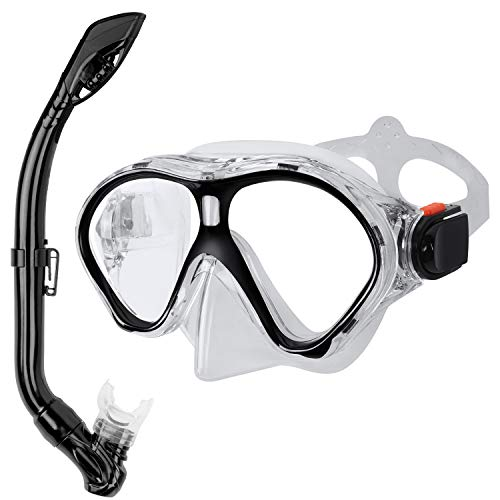 Gintenco Kids Snorkel Set, Dry Top Snorkel Mask Anti-Leak for Youth Junior Child, Anti-Fog Snorkeling Gear Free Breathing,Tempered Glass Swimming Diving Scuba Goggles 180 Panoramic View(Black)