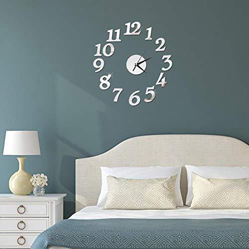 aifengxiandonglingbaihuo nieuwe klok klok wandklokken 3D DIY spiegel sticker Home Decoration woonkamer kwartsnaald zilver