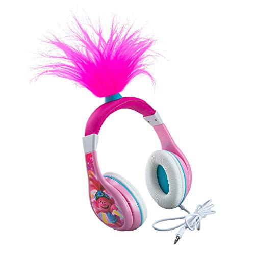 eKids Trolls World Tour Poppy Kids Headphones, Glow in The Dark, Stereo Sound, 3.5mm Jack, Wired Headphones for Kids, Tangle-Free, Volume Control, Childrens Headphones Over Ear for Travel (140)
