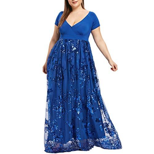 Plus Size Dresses for Women Short Sleeve Deep V Neck Sequined Splice Maxi Long Dress (XXL, Blue)