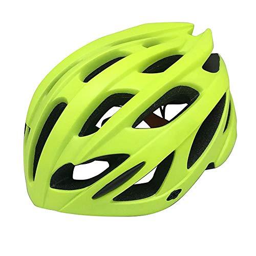 U/D De una Sola Pieza Ligera Bicicleta de montaña Casco de Hombres y de Mujeres Transpirable Casco con la luz con Parasol (Color : Amarillo)